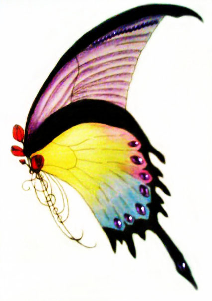 Drawing of representation of butterfly with rainbow wings adorned with purple gems.