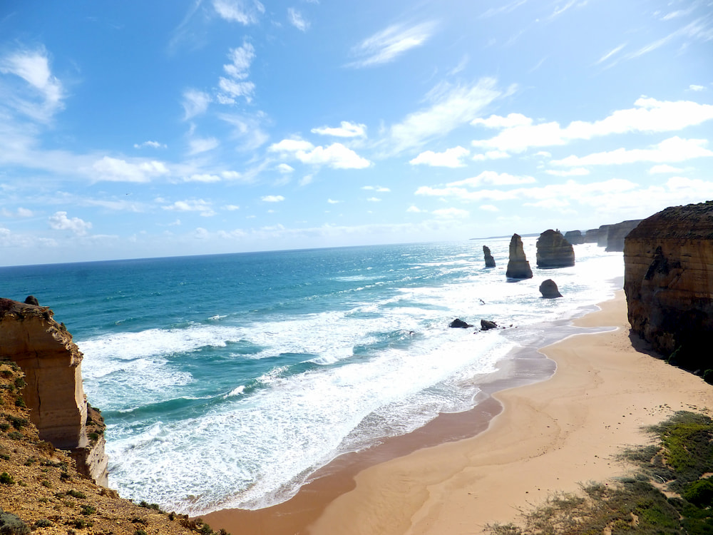 View of the 12 Apostles on a sunny day.