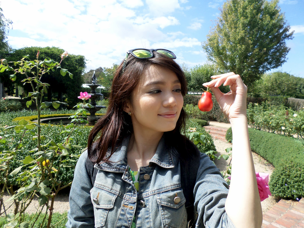 Me holding up a small red gourd-shaped tomato and looking at it.