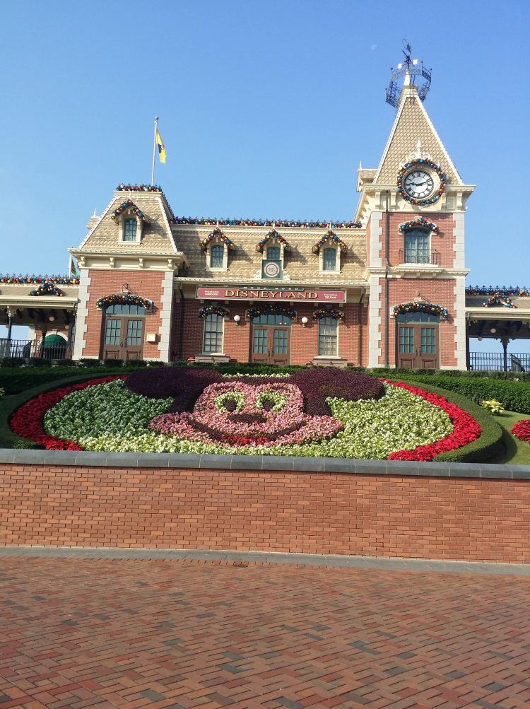 Mickey-shaped garden landscaping in front of a European-style building.