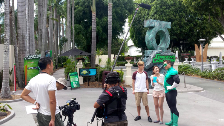 Crew shooting me speaking to Green Lantern.