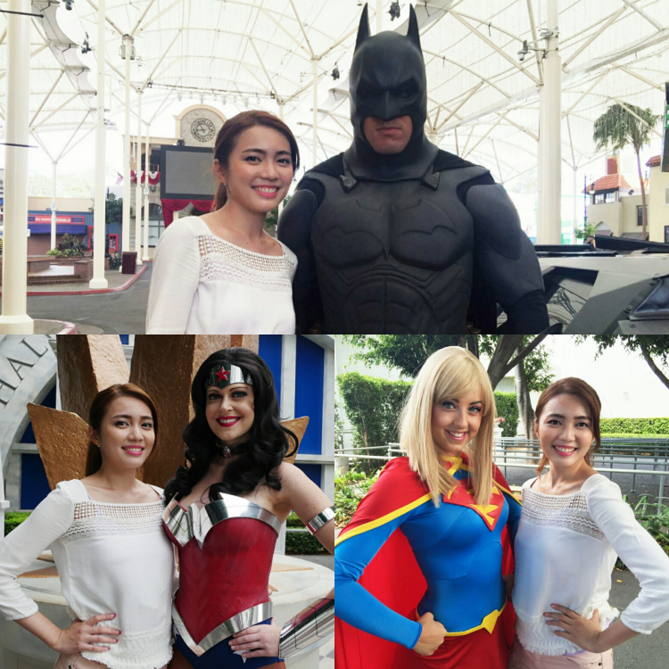 A collage of me posing with three Superheroes : Batman, Wonder Woman and Supergirl