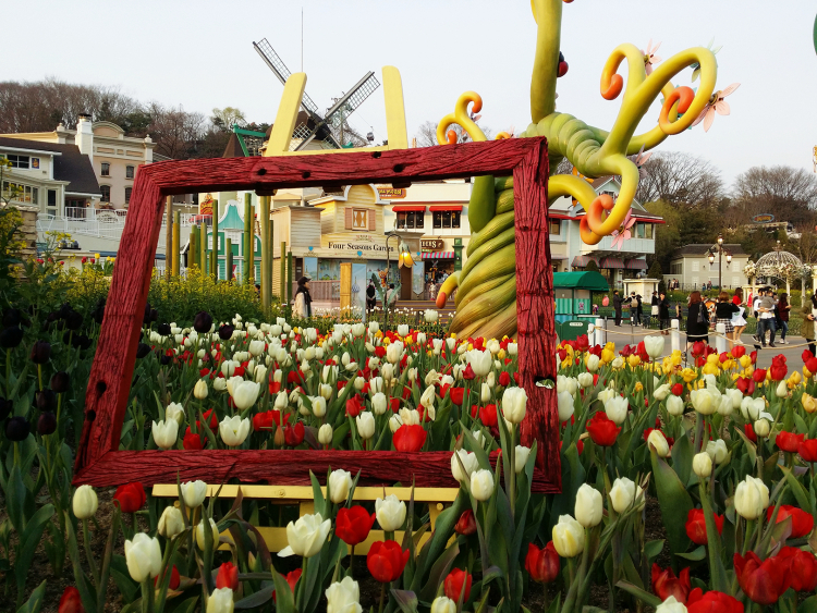 A view of Everland European-style buildings from the tulip garden.