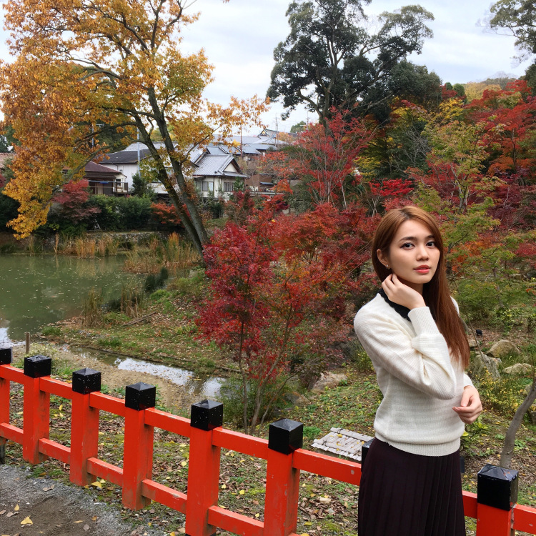 Me standing in front of Fushimi Inari Shrine garden adorned with yellow and red leaves.