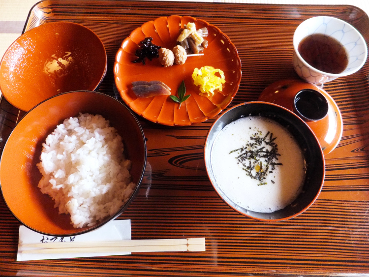 Mugi toro spread. Ground yam, side dishes and rice.