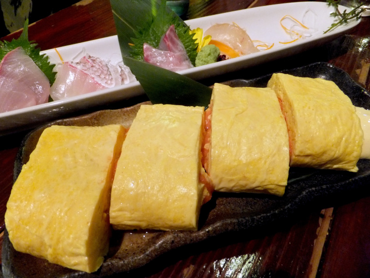Japanese style grilled egg omelette stuffed with mentaiko.