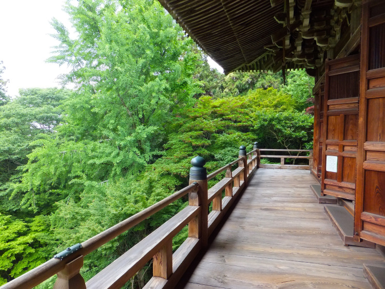 Wooden temple terrace facing the green forest.