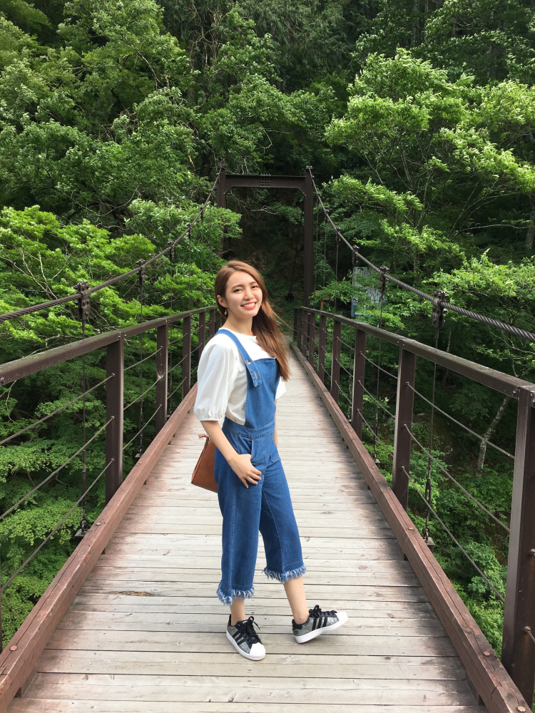 Me standing on Hatonosu suspension bridge.