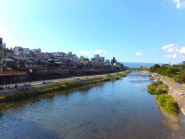 View of Kamo River from the bridge.