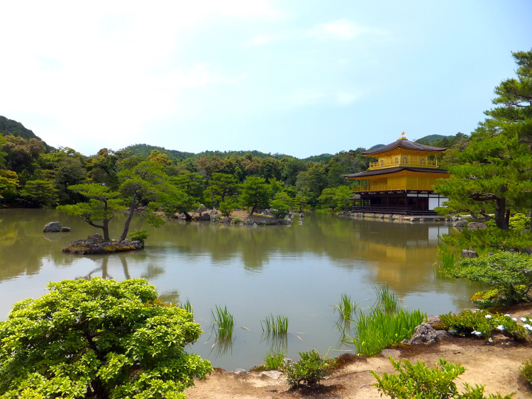 Kinkaku-ji in the far right corner, overlooking a large pond.