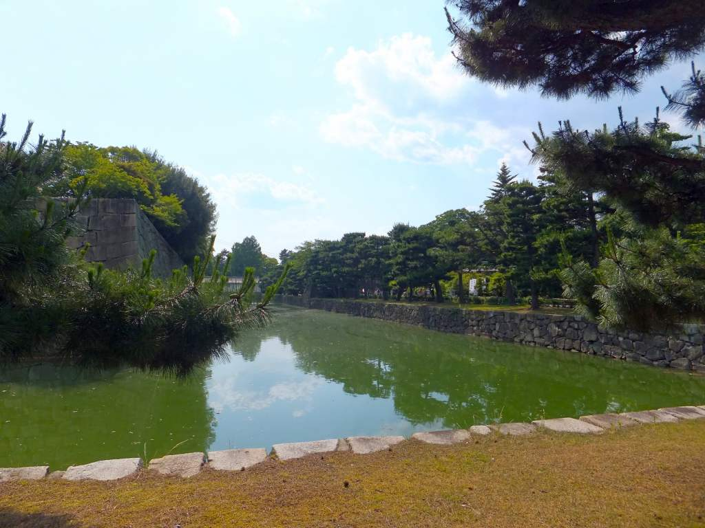 Jade green waters in the moat surrounding the castle.
