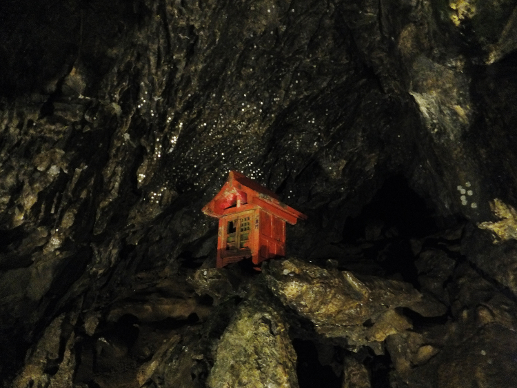 A lilliputian vermillion shrine perched on the cave ceiling surrounded with shining coins pressed into the cavern walls.