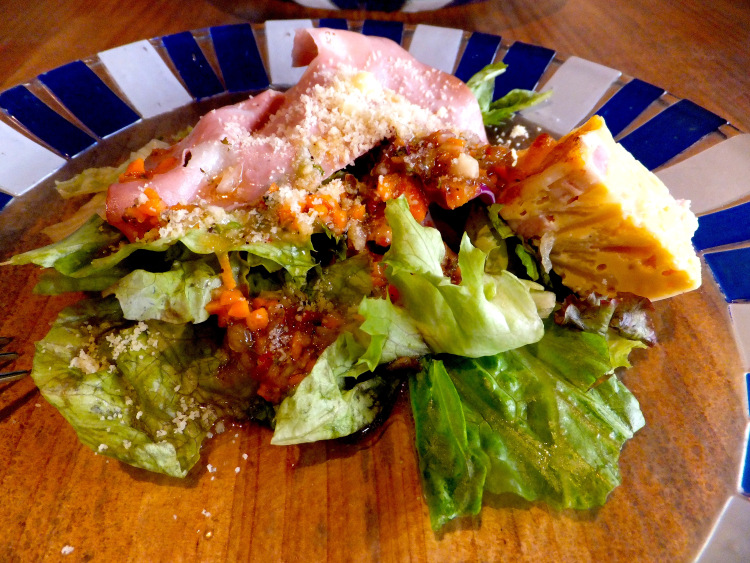 Salad with ham and cheese.