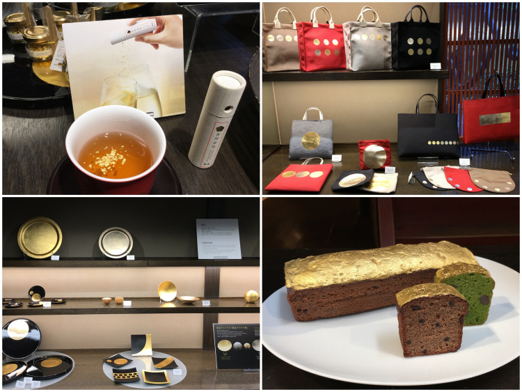A collage of golden leaf merchandise ranging from bags to bread.