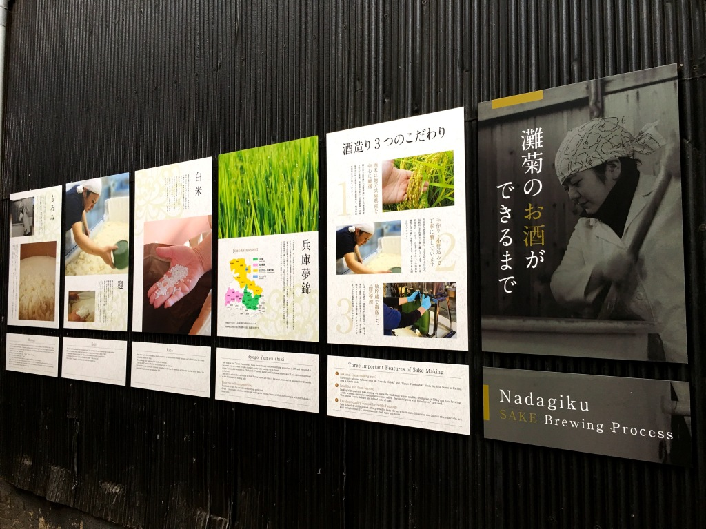 A row of posters on a black wall explaining the Nadagiku sake brewing process.