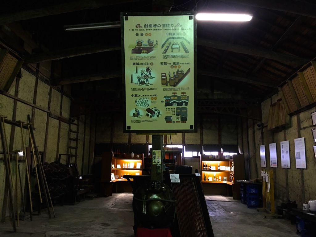 An old barn with a large poster hanging from the ceiling explaining the traditional sake brewing method.