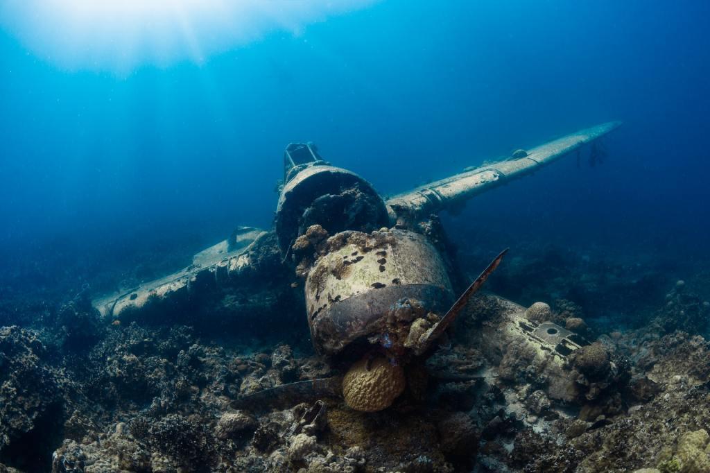 Plane crash under the sea.